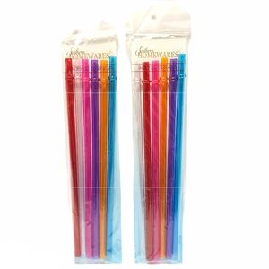 New 2 Pack Acrylic Tumbler Straws Set of 6 Colors